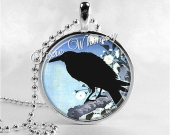 RAVEN In Tree Jewelry Round Glass Bezel Pendant Necklace with Free 24 Inch Necklace Chain