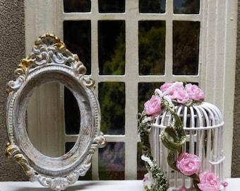 """Pájaro de la jaula estilo """"Shabby Chic"""" escala 1/12 - accesorio de decoración para la casa de muñeca miniatura de miniatura"""