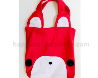 Red Fox Tote Bag - Cute Tote , Kawaii Bag, Bookbag