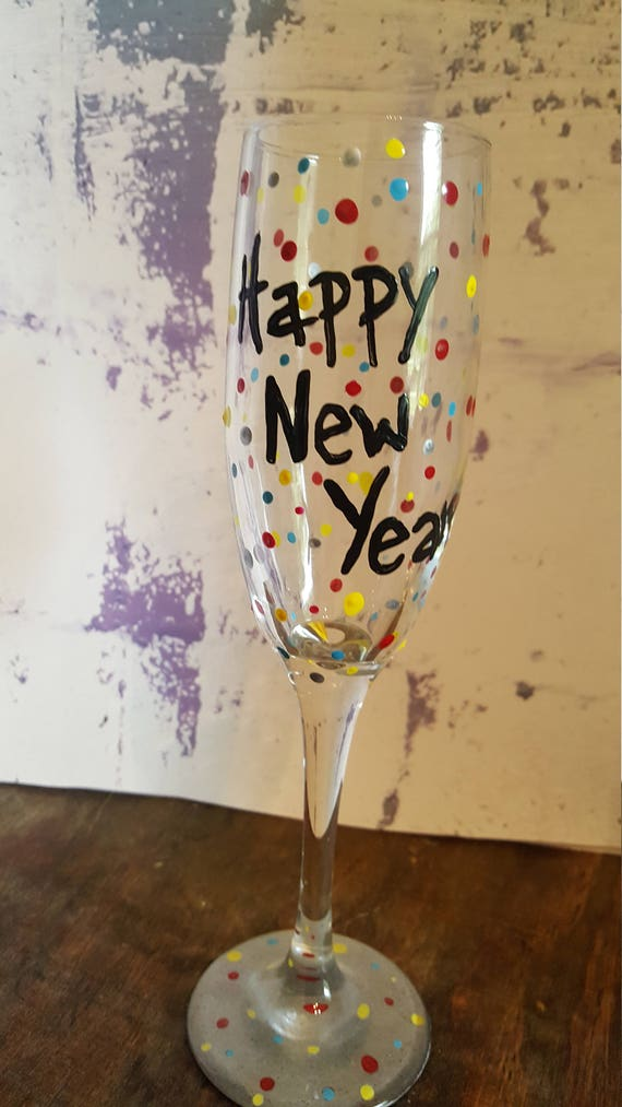 Happy New Year champagne flute