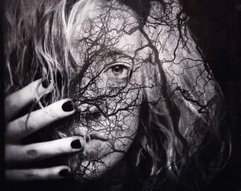 surreal portrait, creepy portrait, woman nature photo, trees, forest conceptual portrait photo, woman face home decor, fine art dark mind