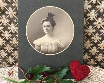 Edwardian Sepia Toned Photograph of Lovely Young Lady
