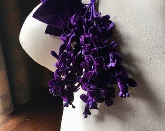 PURPLE Lilacs Velvet Millinery Lilacs for Boutonnieres, Bouquets, Corsages