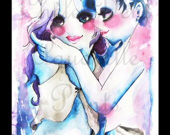 Cute blue Love (black border)
