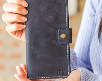 Leather Checkbook Cover, FREE Shipping, Personalized Distressed Leather Checkbook Wallet, Checkbook Case - Clark | Navy Blue