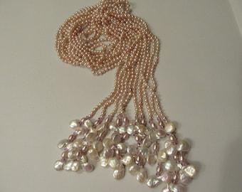 Amethyst Freshwater Pearl Necklace Tassel Wrap