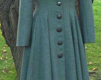 Sea GreenTweed Coat. Fit & Flare style, with a vintage twist.