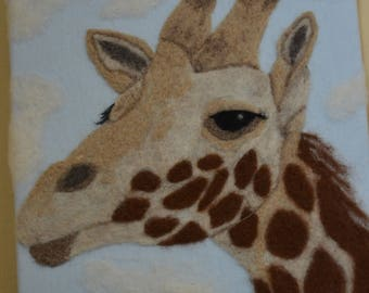 Needle Felt Painting Giraffe