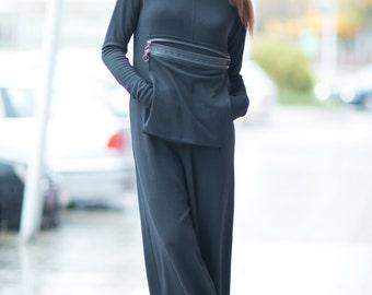 Overalls, Black Jumpsuit, Black Women Zipper Jumpsuit, Cotton Pockets Jumpsuit, Plus Size Jumpsuit by EUG - JP0367PM