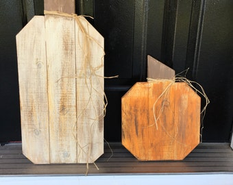2 Fall rustic wood pumpkins your choice