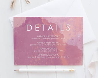 Printable Details Card download - Horizontal Card 5x7 Printable - Instant Download - Pink watercolor details - PDF Card Template - #GD4106