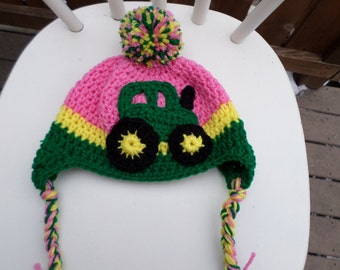 Tractor Hat; Winter Hat for Child; Tractor Hat for Child; Pink Tractor Hat for Child