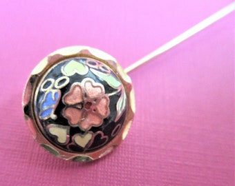Cloisonne Stick Pin  Lapel Brooch Vintage Black Gold Floral Pin Vintage Jewelry Stick Pin Gift for Women Cloisonne Jewelry Mother's Day Gift