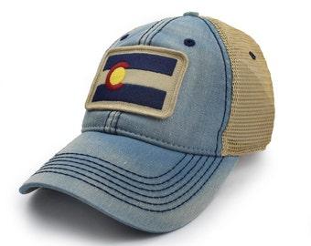 Colorado Flag Patch Trucker Hat, Americana Blue
