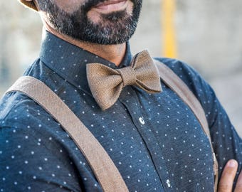 Beige braces for men, bow tie and braces, vegan suspenders and bowtie to a wedding