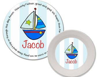 Personalized Melamine Plate and Bowl Set - Mealtime Set - Melamine Dinnerware Set - Child Dinnerware - Kids Plate and Bowl Set - Sailboat