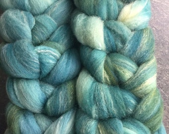 Targhee Bamboo and Silk Combed Top Roving Ocean Blues Colorway