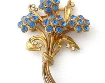 Large Gold Gilt Pot Metal Flower Brooch Pin Vintage Costume Jewelry Blue and Clear Rhinestones from TreasuresOfGrace