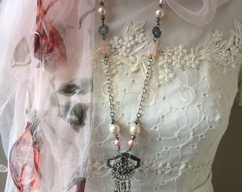 Repurposed Necklace - Beaded Necklace - Vintage Look Necklace - Vintage Style Necklace