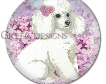 White Poodle Lilacs flowers Portrait 10 inch Art Plate DecoSaf 100% Made in the USA