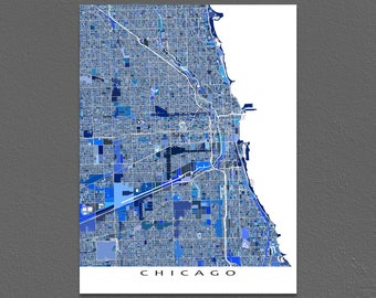 Chicago Map Print, Chicago Illinois USA, City Street Map, Blue Maps