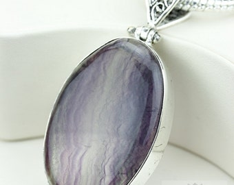 Excellent Grade FLUORITE 925 S0LID Sterling Silver Pendant + 4MM Snake Chain & Free Worldwide Shipping P3689