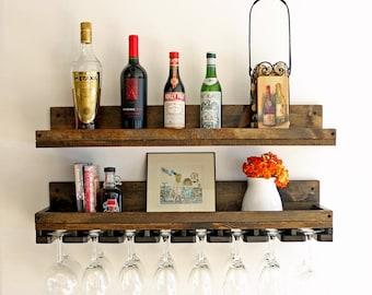 "32"" Rustic Wood Wine Rack Shelf & Hanging Wine Glass Holder | Wall Mounted Bar Shelf"