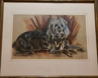 Pastel Painting of Dog Signed Brother Cosmos  21 by 17 inches NAT 18