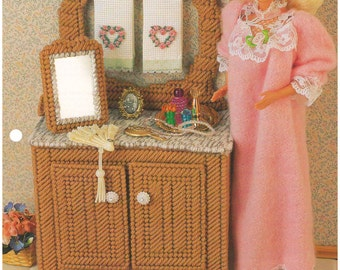 1995 - Antique Washstand Mirror Annie's Fashion Doll Plastic Canvas Club Vintage Pattern 11 1/2 Doll Furniture Accessories Doll House