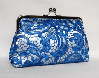 Blue Lace Clutch, Royal Blue and Silver Lace Clutch, Lace Bridal clutch, Blue Wedding Clutch, Bridesmaid Clutch Purse, Blue Evening Clutch