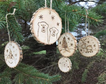 1 - Snowman, Reindeer, Polar Bear, Tree - Christmas Tree Ornament - 3 inch - real wood slices woodburned - deer, snowflake, twine