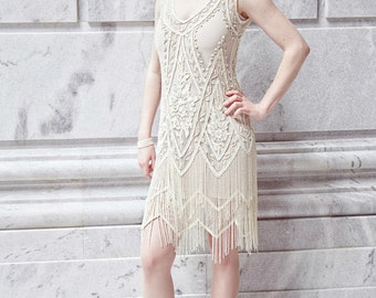 Ivory 1920's Beaded Wedding Dress, Vintage FlapperThe Great Gatsby, Downton Abbey, Vintage Bride, Boudoir, Charleston!
