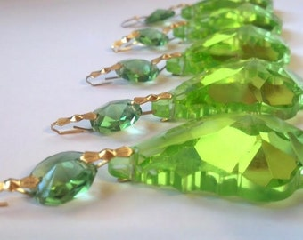5 Spring Green 50mm French Chandelier Crystals Shabby Chic