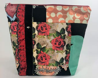 Vintage inspired large pieced fabric makeup bag with tiny buttons or vintage buttons with lamented interior