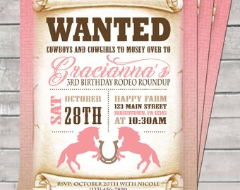 Cowgirl Birthday Party Digital Invite