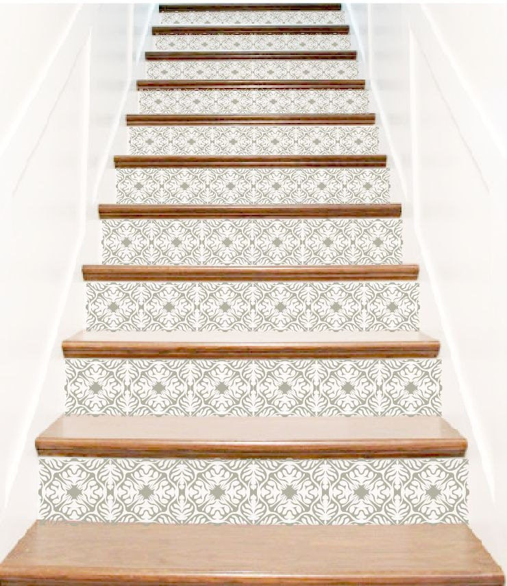 stair decals ornate vinyl tile decal decor for stair riser. Black Bedroom Furniture Sets. Home Design Ideas