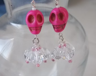 Pink Skull Earrings Pink Howlite Skull Earrings E62