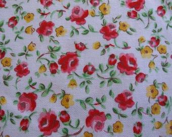 "Cotton Fabric ""Betty & Maude"" Pale Blue, Red, Pink, Yellow, Green 42""W x 15 Yards"