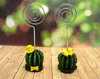Photo Holder Table number Cactus Memo Holder Card Holder Photo Note Holder Recipe Holder set of 2