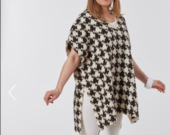 American Made /Italian Wool Check Brown and Creme Vest Tunic