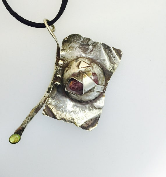 Pink Tourmaline Crystal with Peridot necklace-Recycled Sterling dome necklace-gift-birthday-anniversary-art jewelry-abstract jewelry