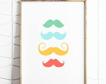 mustache poster, mustache decor, mustache download, mustache wall art, mustache prints, mustache rainbow, mustache colourful