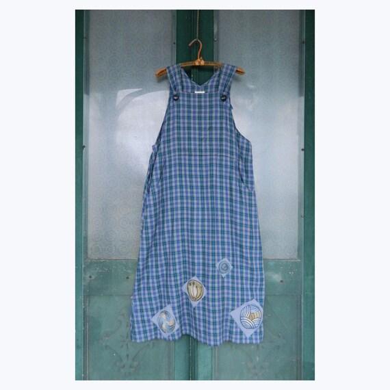 Blue Fish Artwear Jumper Dress -1- Blue Plaid AS IS