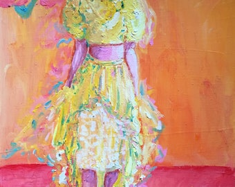 Girl in Fancy Layered Dress Ensemble Original Oil Painting
