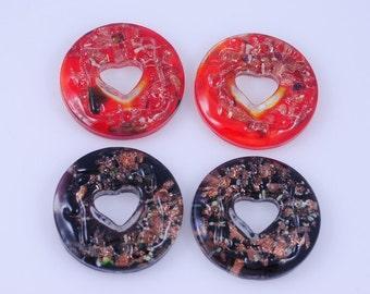 4 pieces Murano style Foil Glass Pendant Donut Pendant J38B139203
