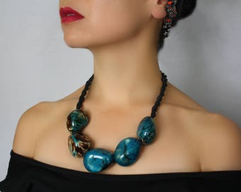 Chunky Necklace, Statement Necklace, Multicolour Blue Pink, Tagua Necklace, Vegetable ivory Necklace