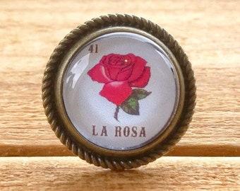 La Rosa the rose loteria ring adjustable antique brass bronze