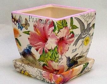 Made To Order, Handmade Decoupage Square Ceramic Flower Pot, Plumieria  Flowers, Birds,