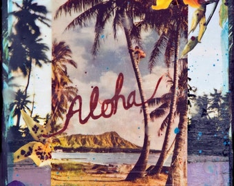 Glicee, ALOHA WAIKIKI HI, 8x8 and Up, Best Seller, Aloha, Print on Canvas, Hawaii, Diamond Head, Aloha, wall Art, Ocean Art