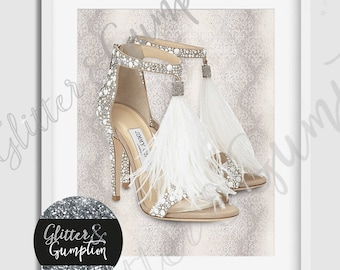 Gold JFashion feather feather shoes damask background , home decor, gift idea print